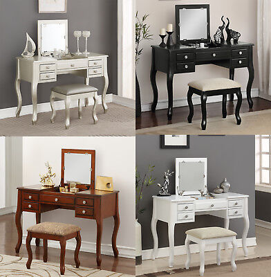 Elegant 2pcs Makeup Vanity Table Flip Up Mirror Drawers Queen Anne