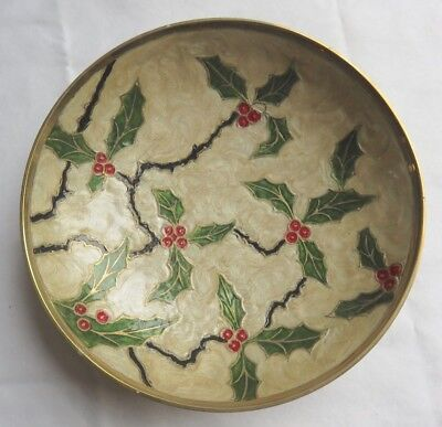 Vintage Enamel Cloisonne Brass Pedestal Bowl Dish Holly Christmas made in India