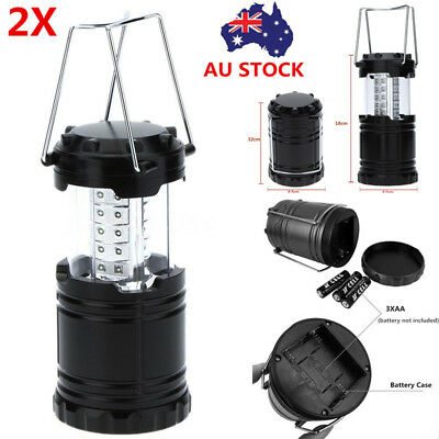 2X Portable 30 LED Camping Tent Lights Lantern Lamp Scalable Flashlight Outdoor