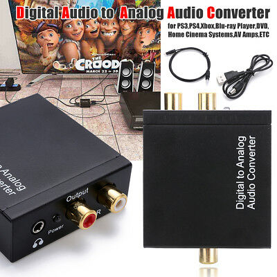RCA Digital Optical Coaxial Toslink to Analog Audio Converter Adapter 3.5mm Jack