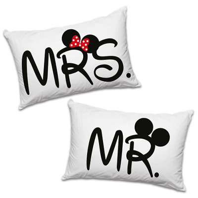 """Coppia di Federe Love You and Me """"Mr and Mrs"""""""