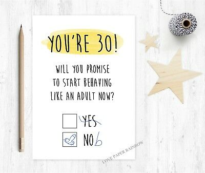 30th Birthday Card Rude Funny Adult Inappropriate Naughty Grow