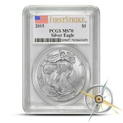 2015 American Silver Eagle PCGS MS70 First Strike Flag Label 1 Oz .999 Silver