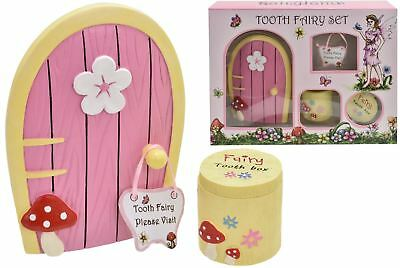 4pc Tooth Fairy Door Sign Tooth Box Kids Childrens Magical Pixie Gift Set