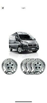 "4 X 15"" Solid Silver Unbreakable Wheel Trim Cover Hub Caps Fits Fiat Ducato"