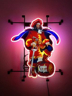 "New Captain Morgan Rum Real Glass Bar Beer Neon Light Sign 17""x14"""
