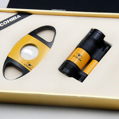 COHIBA Yellow Metal 3 Torch Jet Flame Cigar Lighter With Cigar Cutter Set