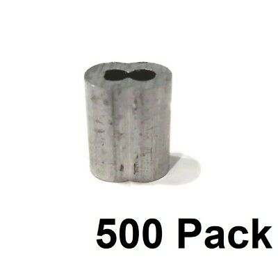 """(500) New 1/8"""" Wire Rope ALUMINUM CABLE CLAMP Double Barrel Loop Ferrule Sleeves"""