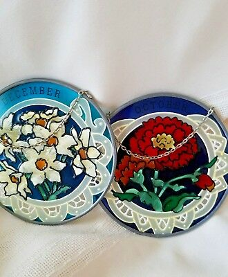 Joan Baker Stained Glass Sun Catcher Hanging Art Round Flowers Oct & Sep 4.5""