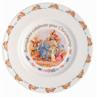 NEW Royal Doulton Bunnykins Royal Doulton Christening Plate 20cm EASTER special.