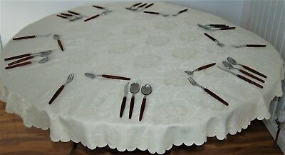 WHITE EMBOSSED ROSE DESIGN ROUND POLYESTER DAMASK TABLE CLOTH 4 to 6 CHAIRS