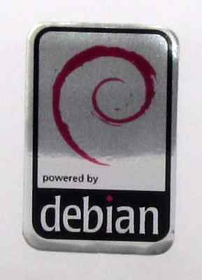 Powered by debian Linux Aluminium Metal Decal Sticker Computer PC Laptop Badge