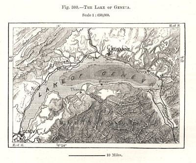 The Lake of Geneva. Switzerland. Sketch map 1885 old antique plan chart