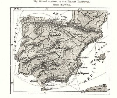 Railroads of the Iberian Peninsula. Spain Portugal. Sketch map 1885 old