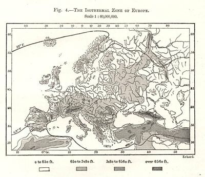 The Isothermal Zone of Europe. Sketch map 1885 old antique plan chart