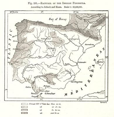 Rainfall of the Iberian Peninsula. Spain Portugal. Sketch map 1885 old