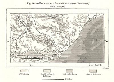 Harwich and Ipswich and their Estuaries. Essex Suffolk. Sketch map 1885
