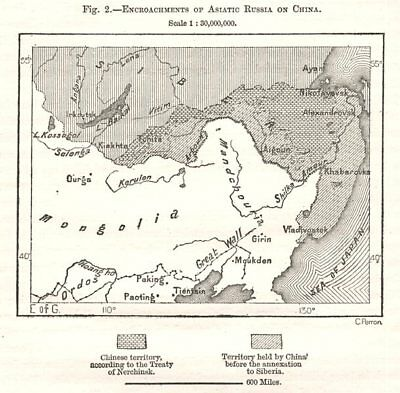 Encroachments of Asiatic Russia on China. East Asia. Sketch map 1885 old