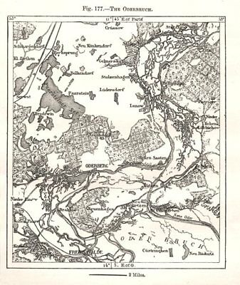 The Oderbruch. Oderberg. Germany. Sketch map 1885 old antique plan chart