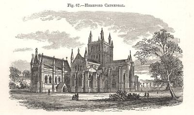 Hereford Cathedral. Herefordshire 1885 old antique vintage print picture