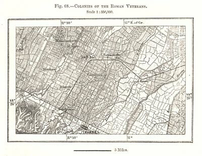 Colonies of the Roman Veterans. Faenza Italy. Sketch map 1885 old antique