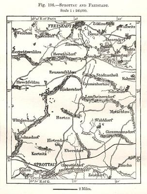 Szprotawa and Kozuchow. Poland. Sketch map 1885 old antique plan chart