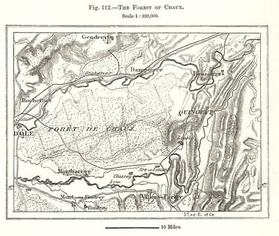 The Forest of Chaux. Jura. Sketch map 1885 old antique vintage plan chart