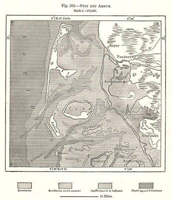Sylt and Amrum. Germany. Sketch map 1885 old antique vintage plan chart