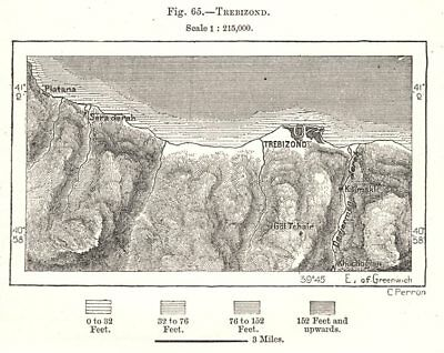 Trabzon & environs. Turkey. Sketch map 1885 old antique vintage plan chart