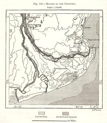 Mouths of the Godavari. India. Sketch map 1885 old antique plan chart