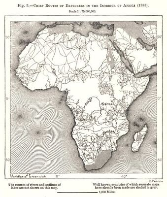 Chief Routes of Explorers in the Interior of Africa (1883). Sketch map 1885