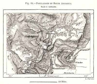 Populations of South Abyssinia. Ethiopia. Sketch map 1885 old antique