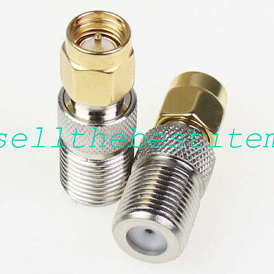 2 Pcs SMA to F-Type Adapter Connector (Male - Female M/F)