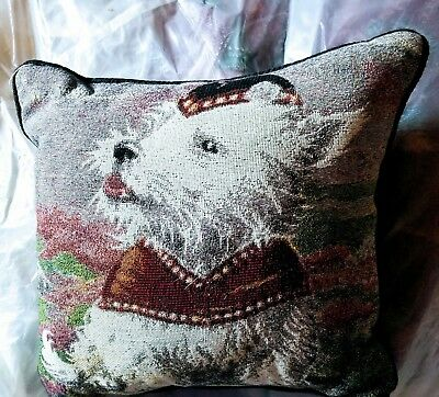 West Highland White Terrier Dog westie tapestry pillow by Golden Horn Creations