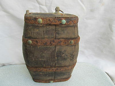 Old Antique Primitive Wooden Hand Made Flask Flat Bottle Very Rare Bronze Rivet
