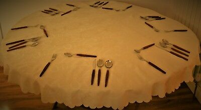 CREAM EMBOSSED ROSE DESIGN ROUND POLYESTER DAMASK TABLE CLOTH 4 to 6 CHAIRS