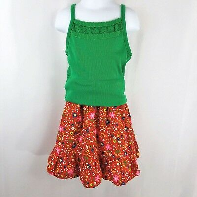 Vintage Mod Floral Girls 6 7 Skirt Tank Set Outfit Mod Flower Power Red Green