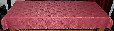 PINK EMBOSSED ROSE DESIGN OBLONG POLYESTER DAMASK TABLE CLOTH 6 to 8 CHAIRS