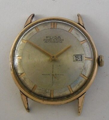 Flica FHF 81-2 Movement 34 mm Vintage Flica Gold Plated Repair or Parts Reparar