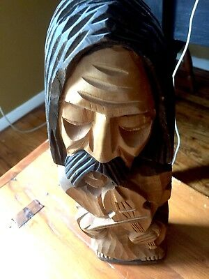 Mexican Handcrafted Wood Carving Violin Fiddle Player Musician Man Figure