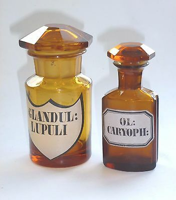 2x Apotheke Glas Flasche glass flask pharmacy 19thC