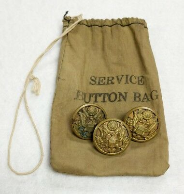 Set of 3 WWII US Army Brass Buttons with Service Button Bag