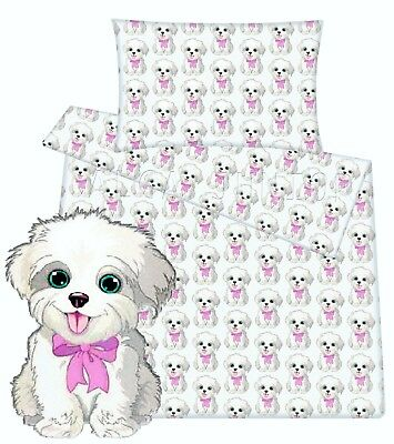 Baby toddler cot cot bed set duvet cover pillowcase 100% cotton cute puppy dog
