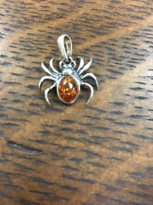 Sterling Silver Spider 🕷 With Amber Body Pendant Or Large Charm