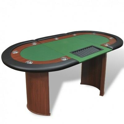 Felt Poker Table With Dealer Area Leather 10 Player Chip Tray Green Cup Holders