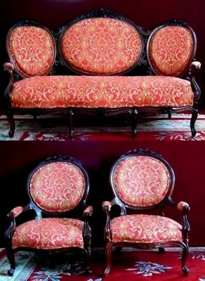 Antique Rosewood   Rocco  Sofa Pair  Chairs  New Brocade Material Red Gold