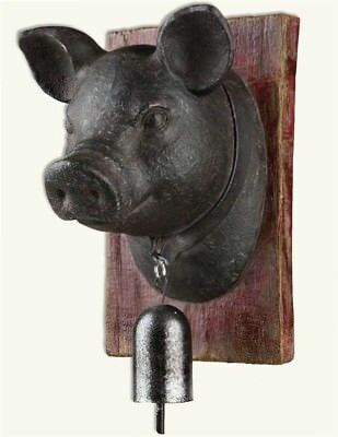 Victorian Trading Co Humble Pig w/ Bell Wall Hanging
