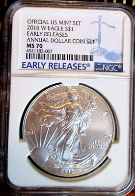 """Early Release 2016-W.... """"annual Dollar Coin Set"""".... Ms70 Silver Eagle $1"""