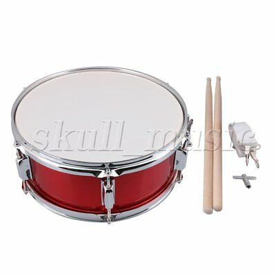 "Red 14"" Snare Drum for Beginners w/ Drum Strap Drumsticks Key Percussion"