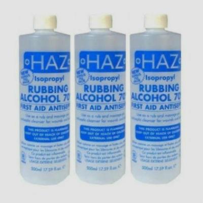 3X Haz Isopropyl Rubbing Alcohol 70% 500ml Original!!!!!!(3 pack)